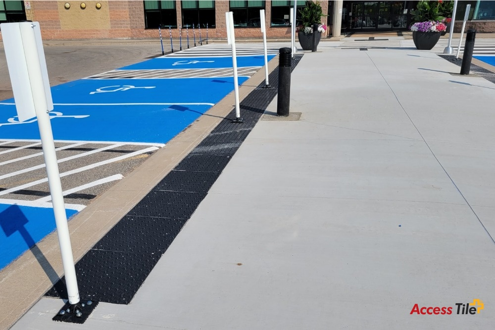 Access Tile Cast in Place installed at Disabled Parking Lot